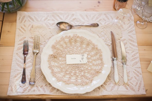 Wedding - Tablescape - Styling - Lace - Etched Glass - Tarnished Cutlery - Vintage